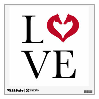 I love horses, heart with horse heads wall sticker
