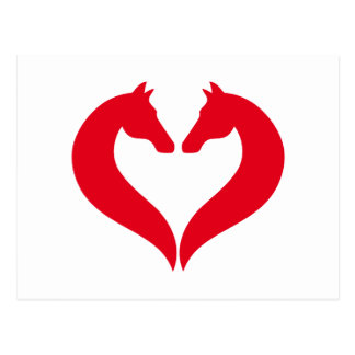 I love horses, red heart with horse head postcard