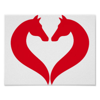I love horses, red heart with horse head poster
