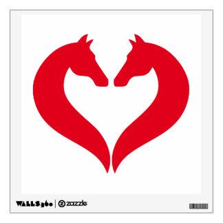 I love horses, red heart with horse head wall sticker