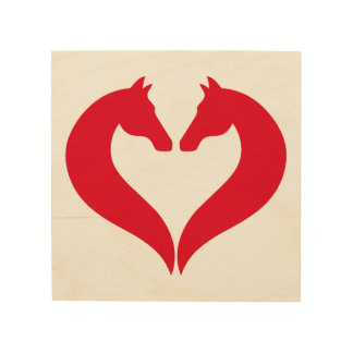 I love horses, red heart with horse head wood print