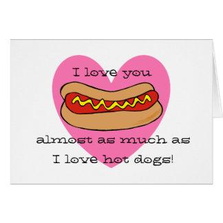 I love hot dogs Valentine card