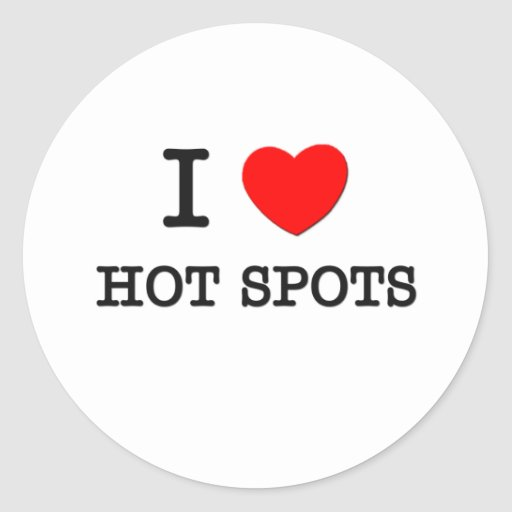 I Love Hot Spots Round Stickers