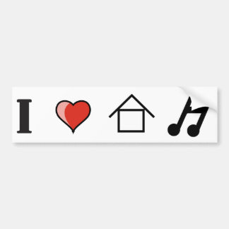 I Love House Music Club Clubbing Bumper Sticker