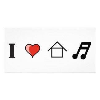 I Love House Music Club Clubbing Photo Card Template