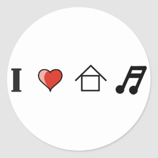 I Love House Music Club Clubbing Round Sticker