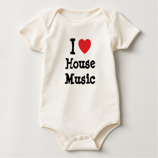 I love House Music heart custom personalized Baby Bodysuit