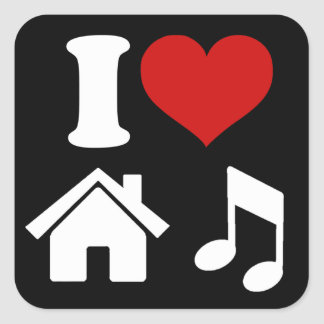 I Love House Music Square Sticker