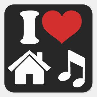 I Love House Music Square Sticker