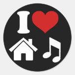 I Love House Music Sticker Stickers