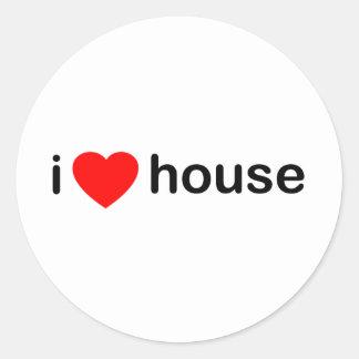 I Love House Round Sticker