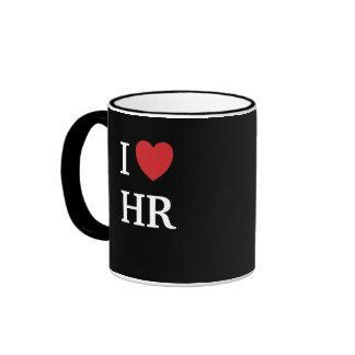 I Love HR I Heart HR 2-sided Human Resources Ringer Coffee Mug
