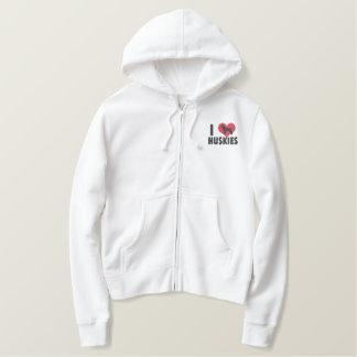 I Love Huskies Ladies Embroidered Hoodie