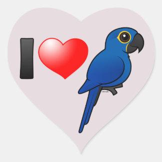 I Love Hyacinth Macaws Heart Sticker