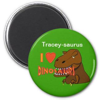 I Love I Heart Dinosaurs Cartoon Tyrranosaurus Rex 2 Inch Round Magnet