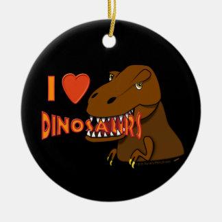 I Love I Heart Dinosaurs Cartoon Tyrranosaurus Rex Ceramic Ornament