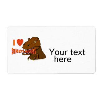 I Love I Heart Dinosaurs Cartoon Tyrranosaurus Rex Personalized Shipping Label