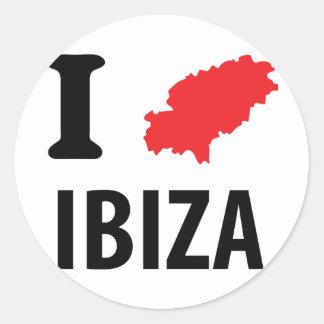 I love Ibiza contour icon Round Sticker