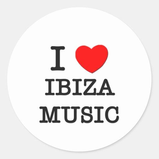 I Love Ibiza Music Round Sticker
