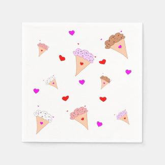 I Love Ice Cream, Cones Hearts Flavors Pattern Disposable Napkin