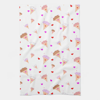 I Love Ice Cream, Cones Hearts Flavors Pattern Kitchen Towel