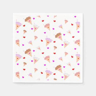 I Love Ice Cream, Cones Hearts Flavors Pattern Paper Napkin