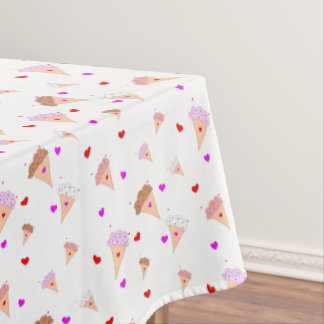 I Love Ice Cream, Cones Hearts Flavors Pattern Tablecloth