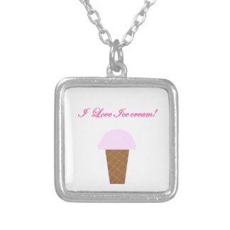 I Love Ice Cream! Silver Plated Necklace
