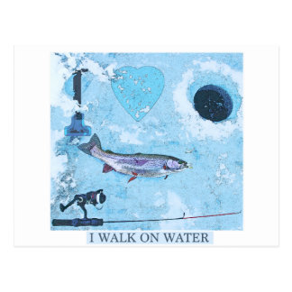 I love ice fishing postcard