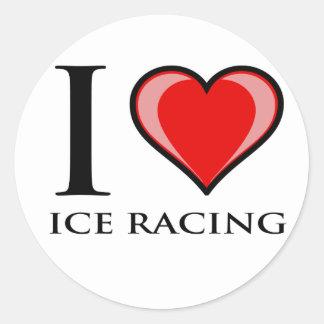 I Love Ice Racing Classic Round Sticker