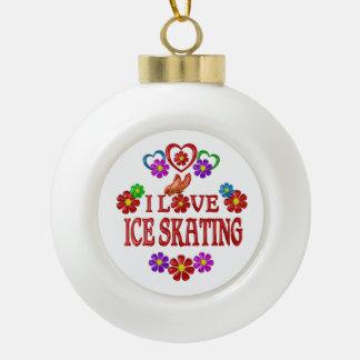 I Love Ice Skating Ceramic Ball Ornament