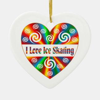 I Love Ice Skating Ceramic Heart Ornament