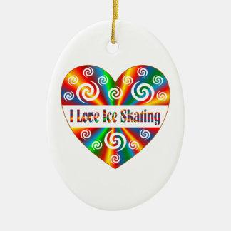 I Love Ice Skating Ceramic Oval Ornament