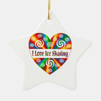 I Love Ice Skating Ceramic Star Ornament