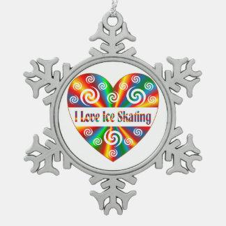 I Love Ice Skating Pewter Snowflake Ornament