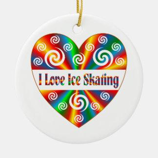 I Love Ice Skating Round Ceramic Ornament