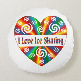 I Love Ice Skating Round Pillow