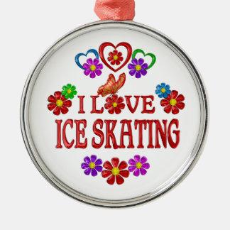 I Love Ice Skating Silver-Colored Round Ornament
