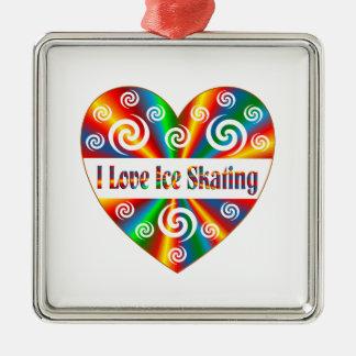 I Love Ice Skating Silver-Colored Square Ornament
