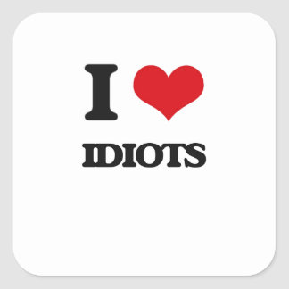 I love Idiots Square Sticker