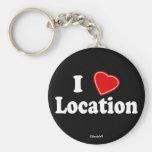 I Love II Basic Round Button Keychain
