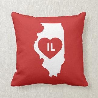 """I Love Illinois State Throw Pillow 16"""" x 16"""""""