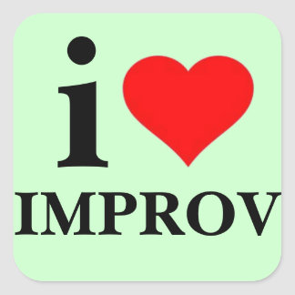 I Love Improv Square Sticker