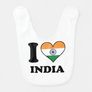 I Love India Indian Flag Heart Bib