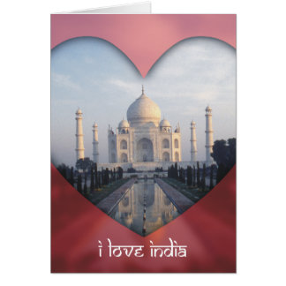 """I Love India"" Taj Mahal Heart Card"