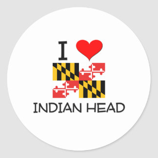 I Love Indian Head Maryland Round Stickers