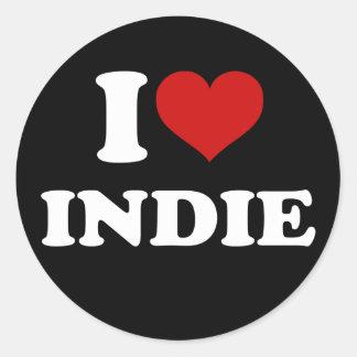 I Love Indie Classic Round Sticker