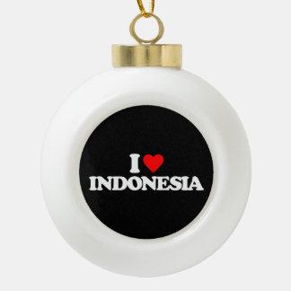 I LOVE INDONESIA CERAMIC BALL ORNAMENT