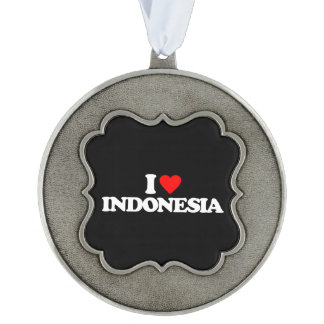 I LOVE INDONESIA SCALLOPED PEWTER ORNAMENT
