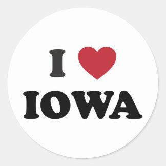 I Love Iowa Classic Round Sticker
